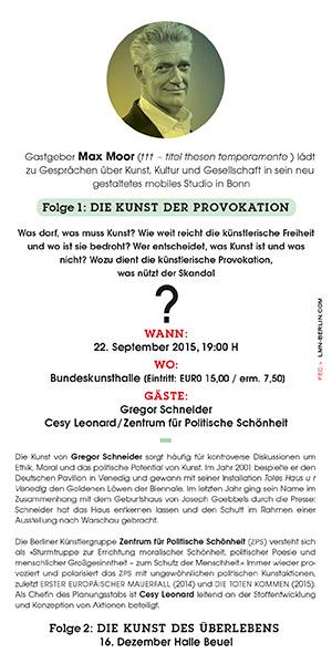 Max Moor & die Kunst deR provoKation, Bonn
